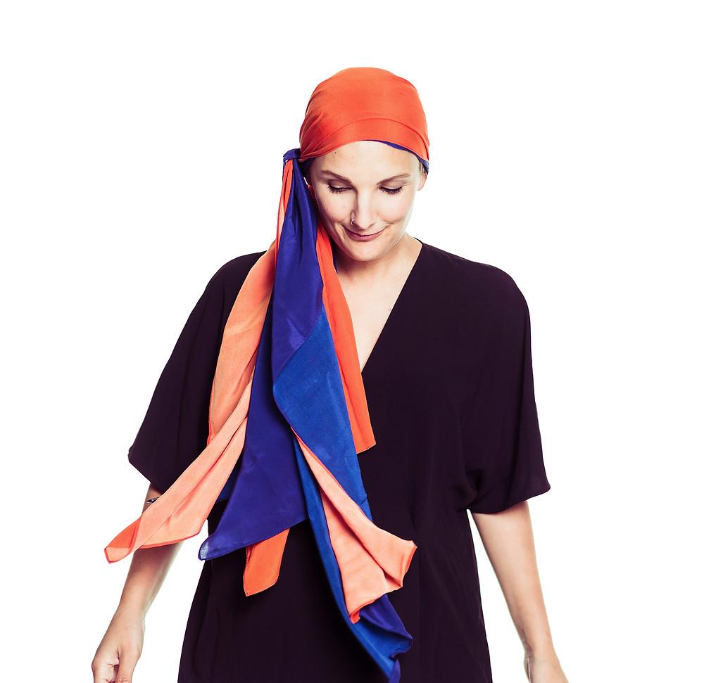 MOGA orange and Blue scarf for Bravery Co.