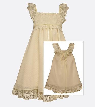 Vestido de Chiffon Crema con Encaje