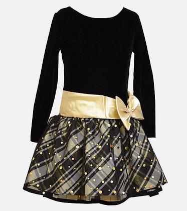 Vestido de Fiesta Negro/Dorado Bonnie Jean