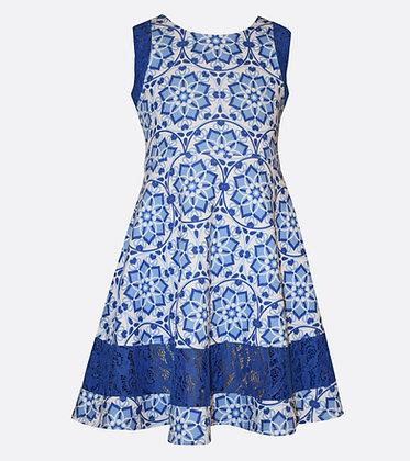Vestido Estampado Azul Royal Bonnie Jean