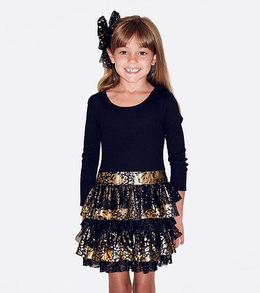Vestido de Fiesta Negro/Dorado Bonnie Jean (Manga corta)