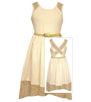 Vestido Ivory con Encaje Dorado Bonnie Jean