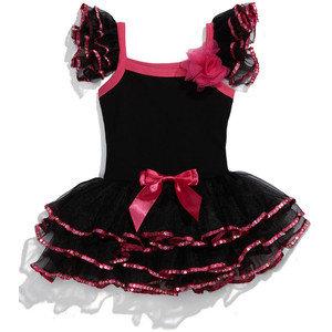 Vestido tipo tutu Color Negro con Fucsia