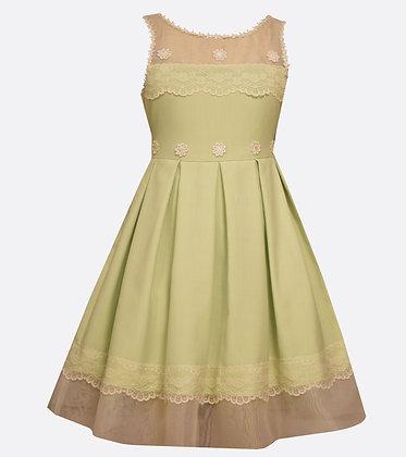 Vestido Verde con Aplicaciones de Encaje Bonnie Jean