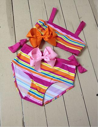Traje de Baño Bikini de Rayas