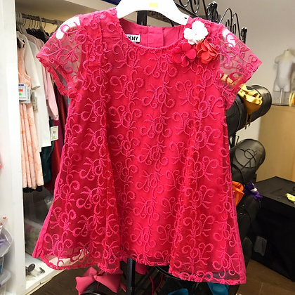 Vestido de Encaje Fucsia DKNY