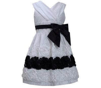 Vestido de Fiesta Blanco con Negro Bonnie Jean