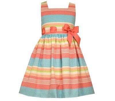 Vestido de Rayas Coral y Aqua