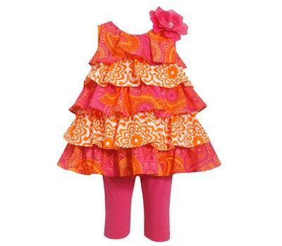 Conjunto de Leggings Estampado Naranja/Fucsia Bonnie Jean