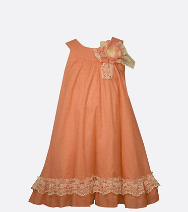 Vestido Coral con Encaje Crema Bonnie Jean