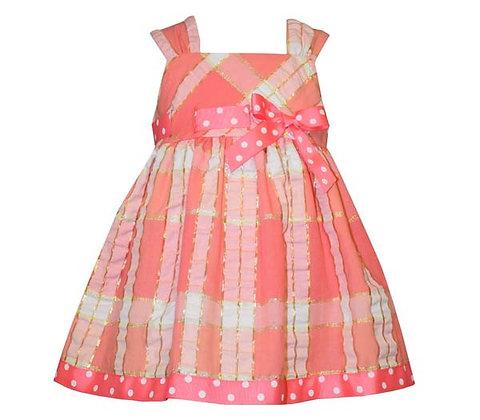 Vestido de Cuadros Coral/Dorado Bonnie Jean