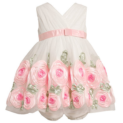 Vestido Formal Blanco con Rosado Bonnie Jean
