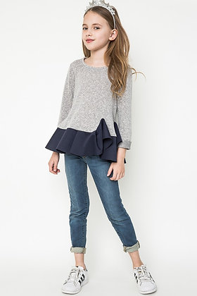 Blusa para niñas Gris/Azul Marino Hayden Girls