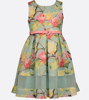 Vestido Aqua Estampado Vintage