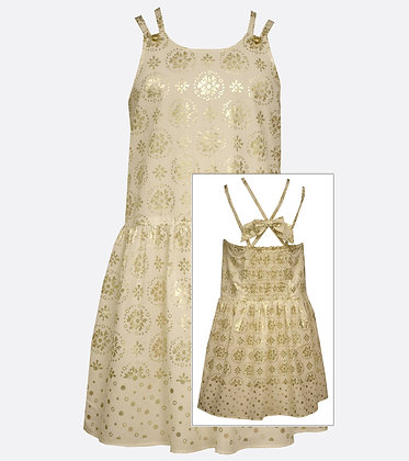 Vestido Estampado Blanco/Dorado Bonnie Jean