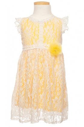 Vestido de Encaje Blanco con Amarillo Littoe Potatoes