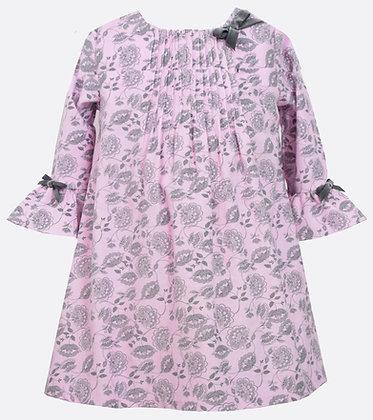 Vestido Estampado de Flores Gris con Rosado Bonnie Jean