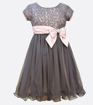 Vestido de Fiesta Plateado/Rosado Bonnie Jean