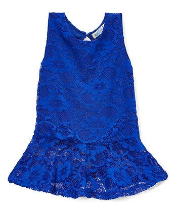 Blusa para niñas de Encaje Azul Royal Little Potatoes