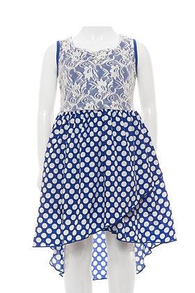 Vestido Azul Royal de Lunares y Encaje Little Potatoes
