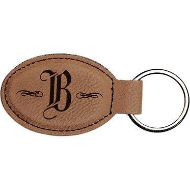 Leatherette Oval Keychain