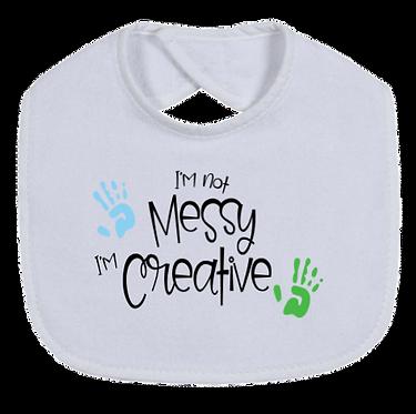 'not messy, creative' baby bib