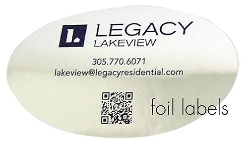 Foil labels-cut to size