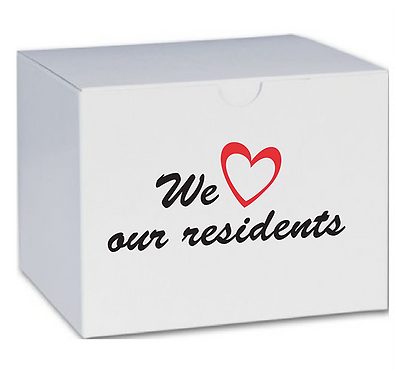 'we love our residents' snack box