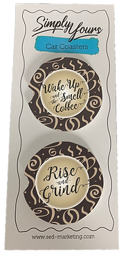 wake up & rise and grind car coasters-set of 2