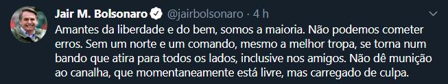 """Sem mencionar o ex-presidente Lula, Bolsonaro pede a seus seguidores: """"Não dê munição ao canalha"""""""