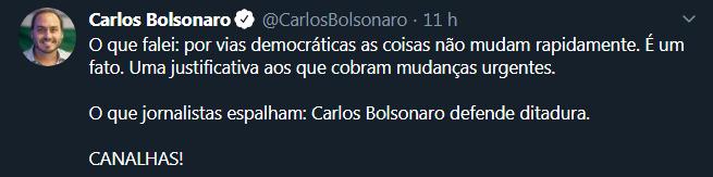 Calos Bolsonaro volta ao Twitter e ataca a imprensa para explicar sua postagem anterior contra a democracia