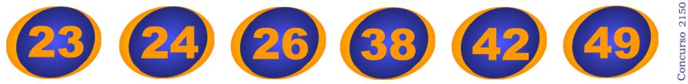 Números sorteados no concurso 2150 da Mega-Sena