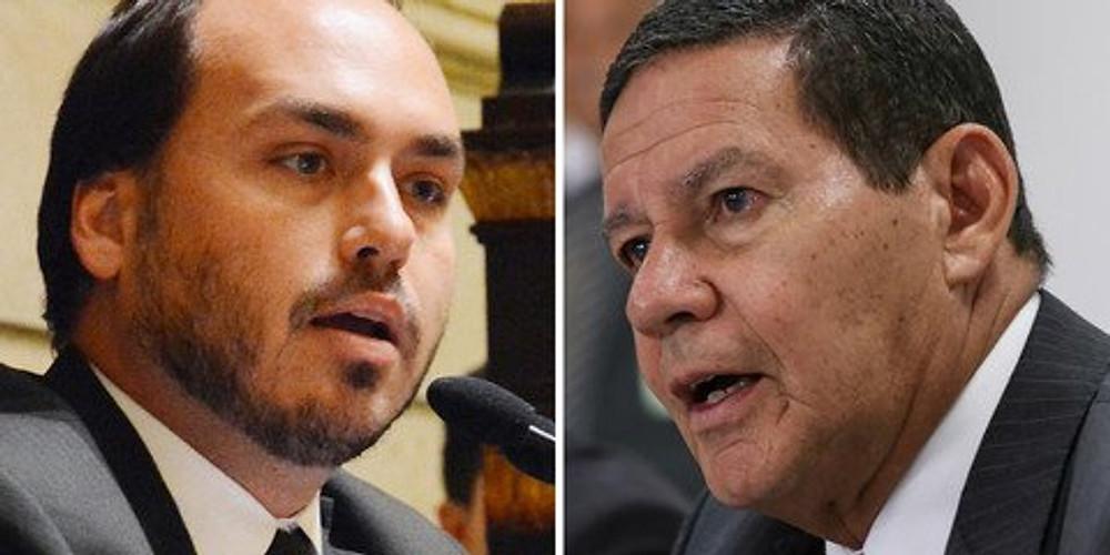 Presidente Bolsonaro não consegue conter o filho, que mantém ataques públicos ao Vice Hamilton Mourão