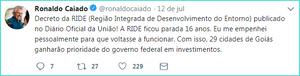 Caiado comemora decreto que modifica a RIDE administrativamente, sem trazer nenhum benefício para o Entorno