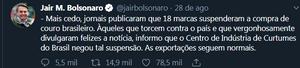 Empresas importadoras do couro brasileiro suspendem negócios com o Brasil até que haja segurança quanto a danos ambientais