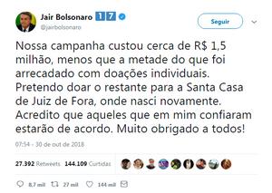 Bolsonaro quer doar resto de campanha para hospital que o salvou em Juiz de Fora (MG), mas esbarra na legislação