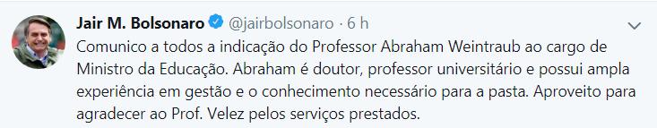 Ministro da educação cai e Bolsonaro já anuncia substituto