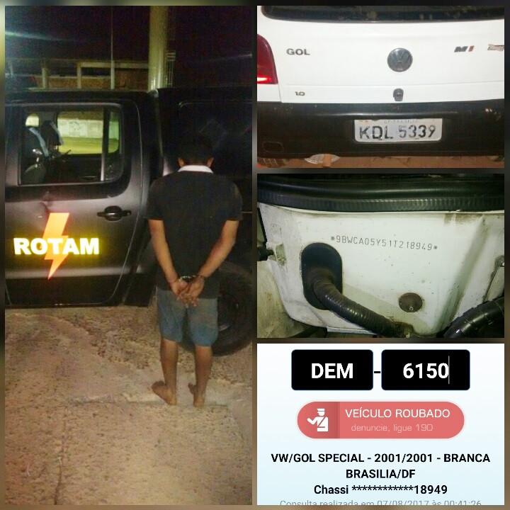 Valparaíso – ROTAM recupera veículo roubado e prende mais um criminoso