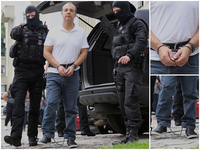 Cabral chega à penitenciária do Paraná algemado e com pernas acorrentadas