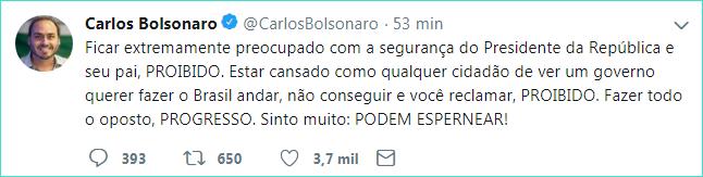 Filho de Bolsonaro ataca outra vez. O alvo agora é o general Augusto Heleno do GSI