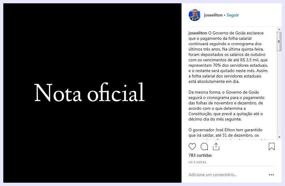 Equipe de transição do governador Zé Eliton emite nota e desmente afirmações de Caiado