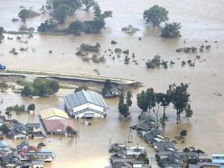堤防が決壊する