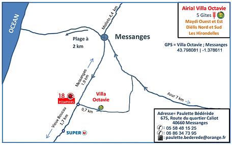 Plan d'accès aux Gites Villa Octavie