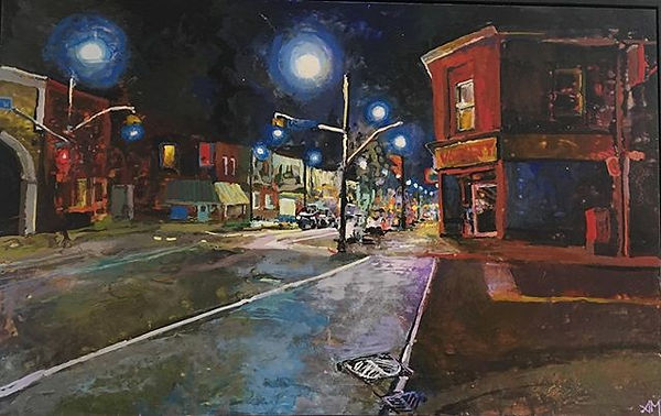 Dundas and Clendenan- encaustic on wood painting Street scene nocturn