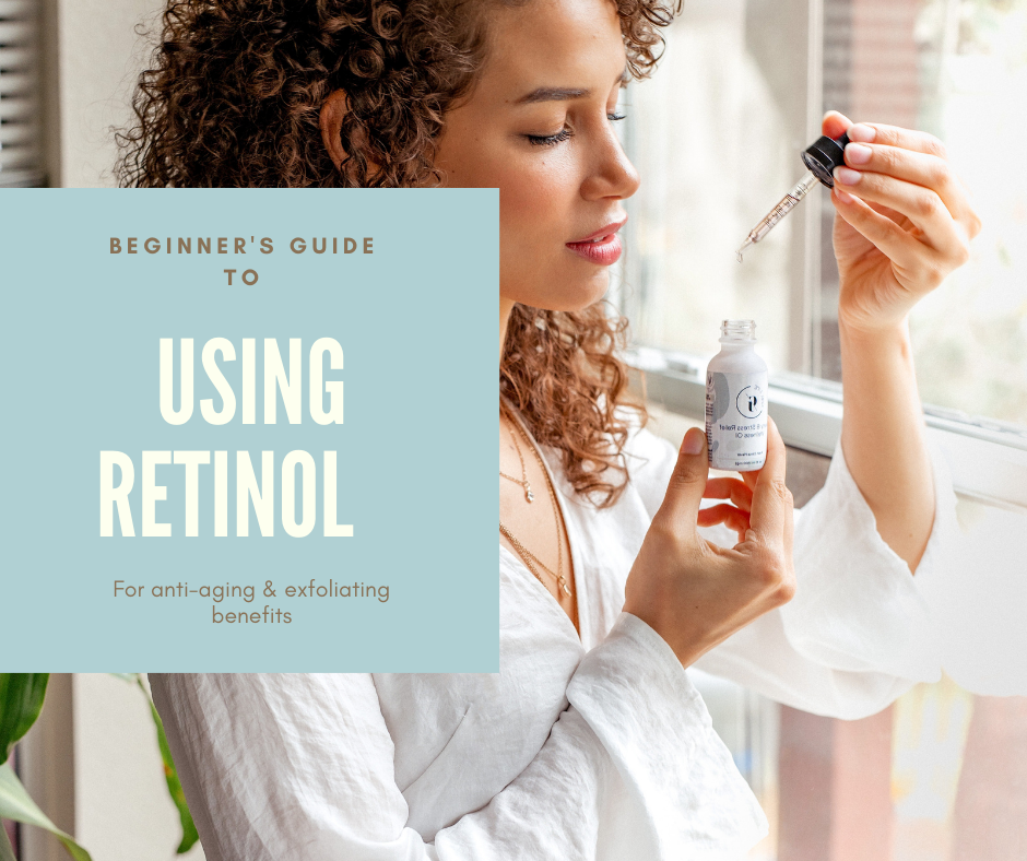 Girl applying retinol serum to face