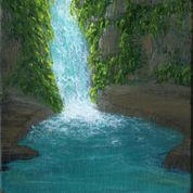 Cave Waterfall Framed Oil on Panel