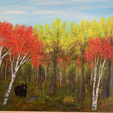 Bear in the Autumn Woods -Sold