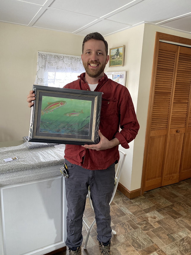 Chris with Trout Painting