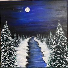 Evergreens in Moonlight