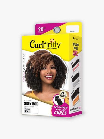 "Curlfinity crochet hair grey rod 20"""